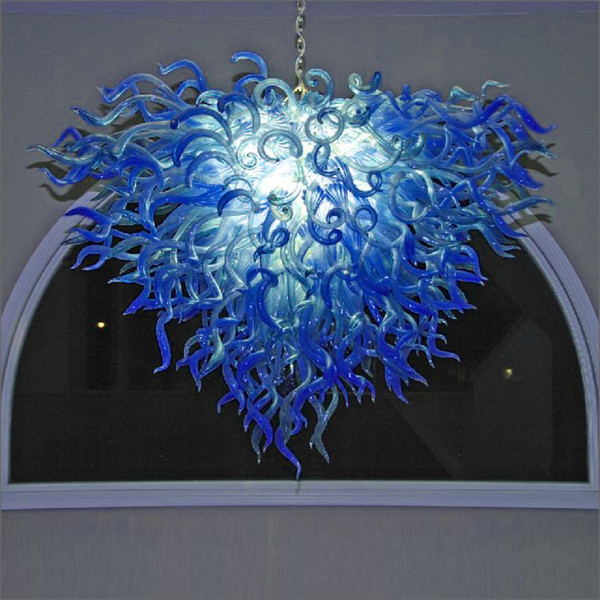 Mouth Blown Glass Chandeliers Hanging Led Dale Chihuly Style Hot Sale Blue Pendant Lamps For Home And Hotel Kitchen Island Pendant Lighting Glass