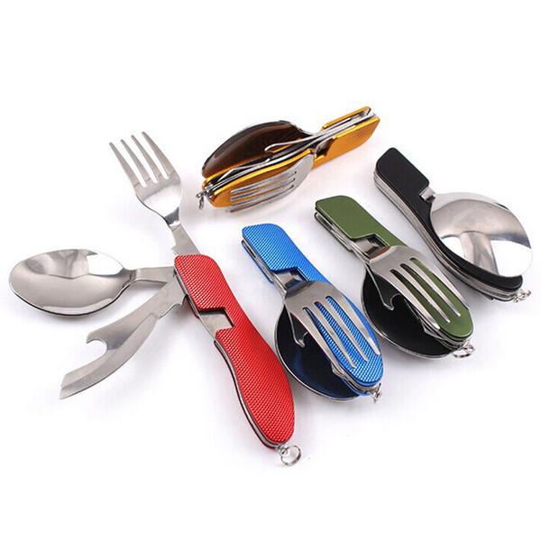 4 En 1 Fourchette Pliante Couteau Ouvre-bouteille Vaisselle Chaud Multifonction En Plein Air Camping Pique-Nique Vaisselle En Acier Inoxydable Couverts