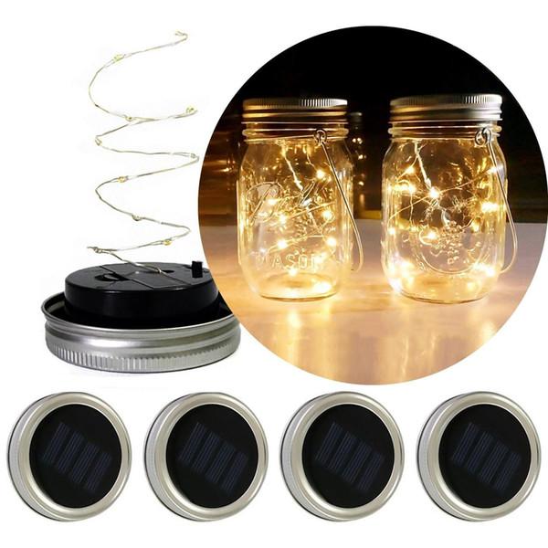 Solar Powered Mason tarros LED enciende para arriba la tapa de hadas de la secuencia Luces de la estrella de plata de tornillo en las tapas de los tarros de cristal Mason jardín de la Navidad