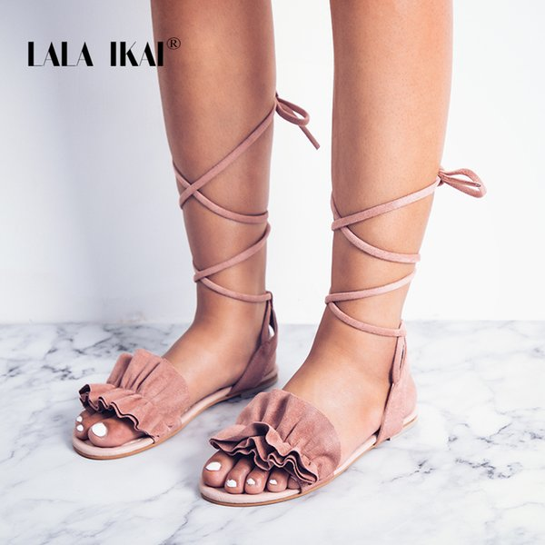 LALA IKAI Bohemia Ankle Strap Flat Ruffle Sandals Shoes Lace Up Women Flower Beach Sandals Shoes Chaussure Femme 014A1932 -49