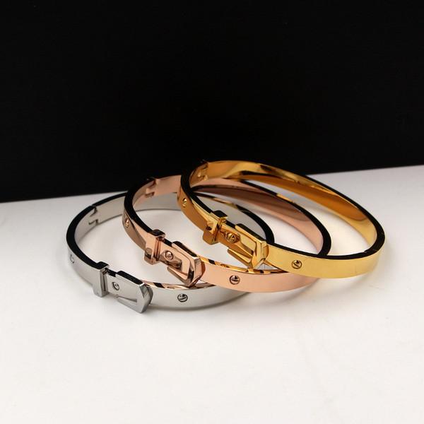 Fashion jewelry small rivet belt buckle dark buckle charm bracelet titanium steel bracelet for women gift