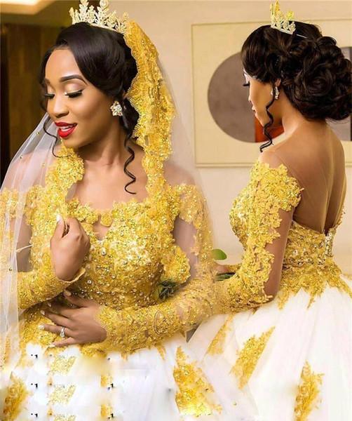 Schwarze Mädchen afrikanische Brautkleider eine Linie Gold Appliques Spitze Country Garden Church formale Braut Brautkleider nach Maß plus Größe
