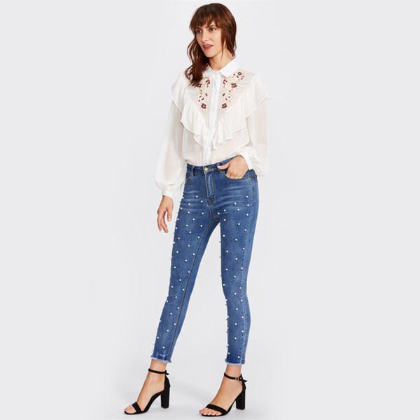 2019 Euro Style Classic Women High Waist Denim Jeans,Lady Vintage Slim Pearls Pencil Jeans High Quality Denim Pants For 4 Season