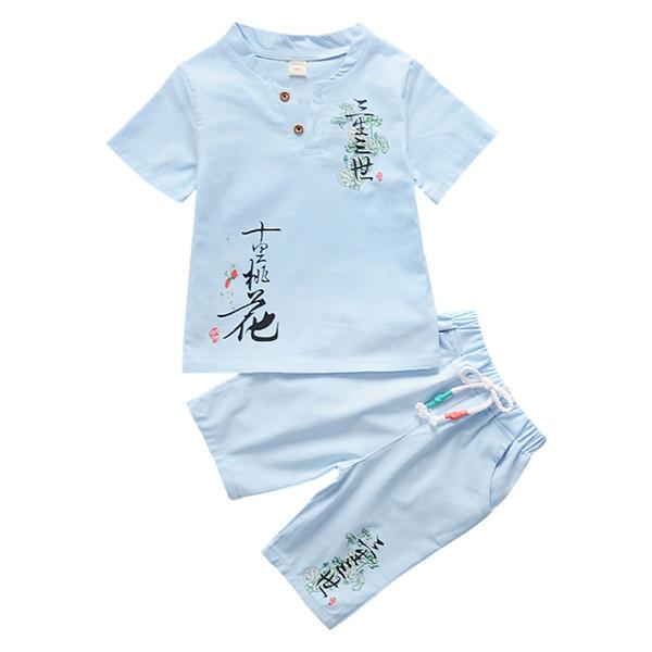 Kleinkind Baby Jungen Kurzarm Chinesischen Stil Gedruckt T-Shirt Tops + Shorts Casual Outfits Kleidung Sets