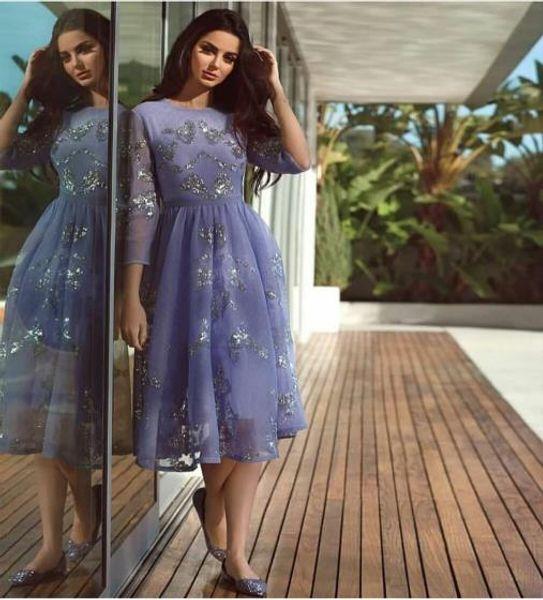 Evening dress Yousef aljasmi Labourjoisie Zuhair murad James_paul6 A-Line Jewel Long Sleeve Blue Tulle Sequin Crystal Long Dress