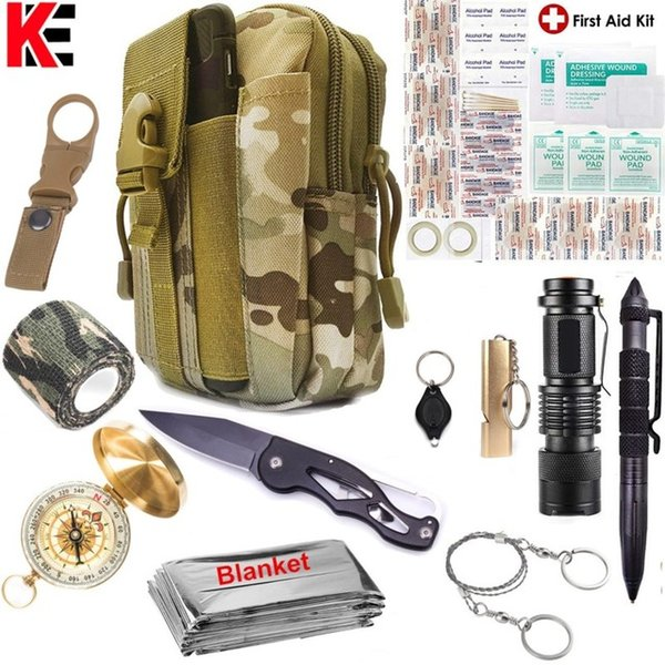 Survival First Aid Kit EDC Emergency Tools Upgraded Molle Pouch Holster Tactical Pen Outdoor Gear First Aid Supply Compass