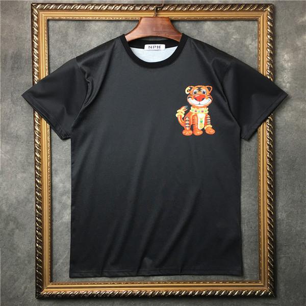 Новые высокие мужчины мультфильм Тигры футболки футболка хип-хоп скейтборд уличный клуб хлопок футболки Tee Top паркур #b7
