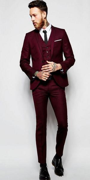 Brand New Red Groom Tuxedos Notch Lapel Groomsmen Mens Wedding Dress Popular Man Jacket Blazer 3 Piece Suit(Jacket+Pants+Vest+Tie) 901