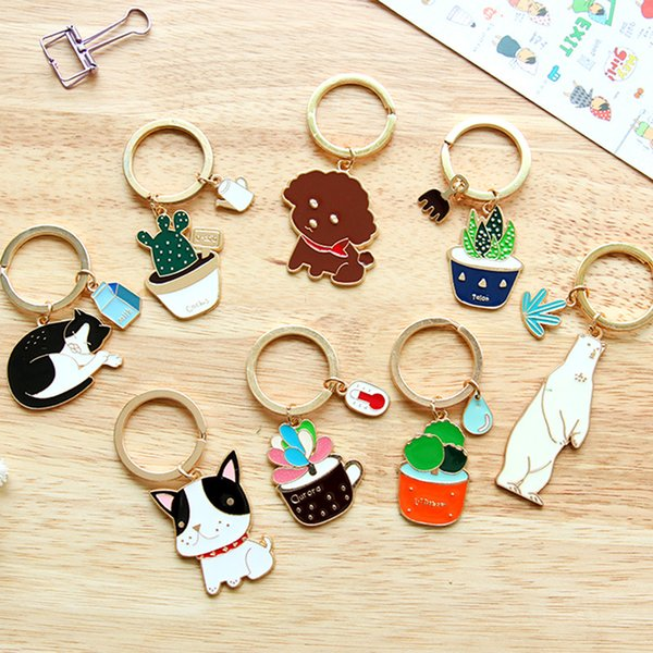 12 Colors Cute Cartoon Animal Key Chain Souvenirs Gift Dog Cat Plants Key Rings Boys Girls House Car Key Holder