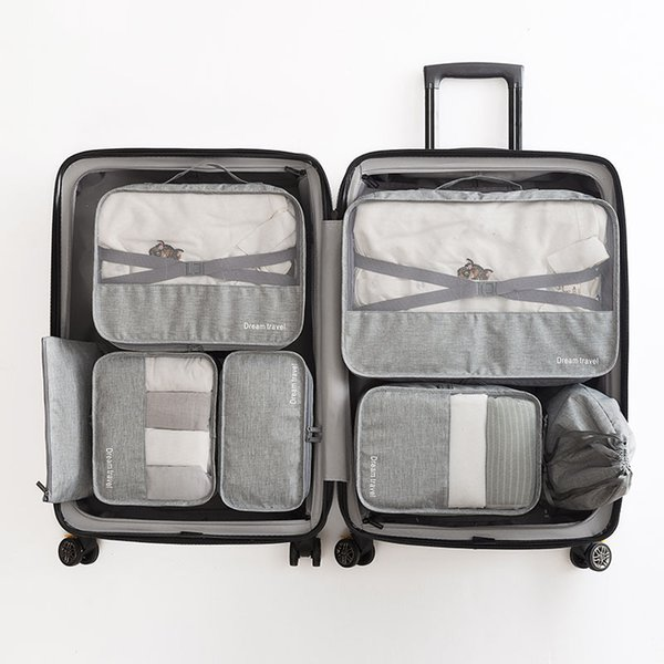 High-grade 7pcs/set Suitcase Organizer Koffer Organizer Sets Luggage Organizer Laundry Pouch Packing Set Storage Bag For Clothes Q190429