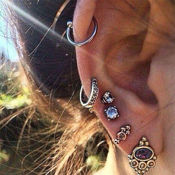 New Cross-border For Wholesale Earrings Punk Wind Turtle Palm Earrings Moon Ancient Silver Ear Clip Set Retro Fashion Earrings C0007