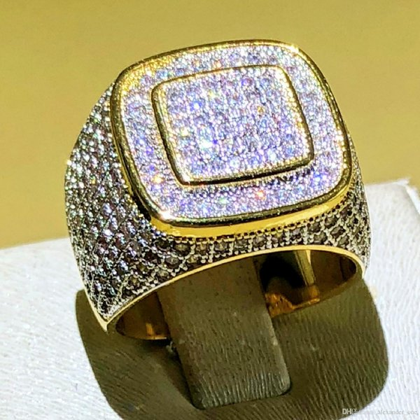 Hip Hop de lujo Micro Pave CZ Stones All Iced Out Bling Ring 925 anillos de hip-hop plateados en oro para hombres Fiesta de regalo de joyería Tamaño 8-13