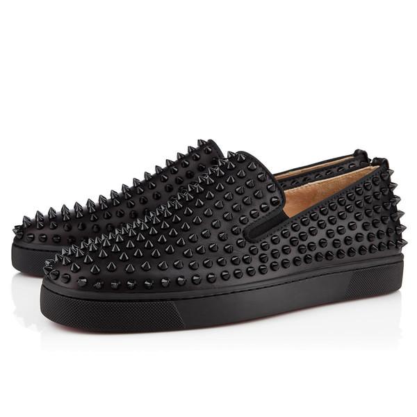 Designer de mode Spikes Flats chaussures Bas Rouge Chaussures Pour Femmes Hommes Luxe Party Lovers Baskets En Cuir Véritable W8