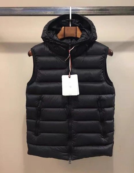 new gilet anorak down hoodie vests french thicker winter coats outerwear lover's sport hooded jacket down parkas, Black;white