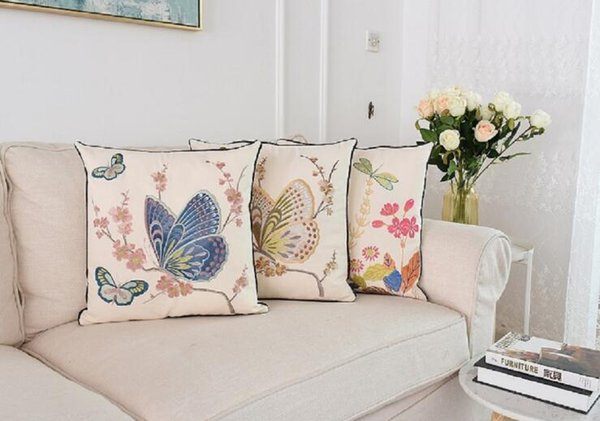 Butterfly Embroidery Pillow Country Style Floral Butterfly Embroidery Coussin Sofa Room Decoration Decorative Pillow 45*45 cm
