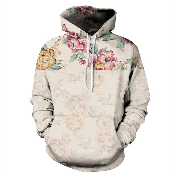 Fleurs Hoodies Hommes / Femmes 3d Sweat-shirts Impression Numérique Rosa Roses Floral Hoodies Hoodies Marque Sweat À Capuche Tops M-3XL