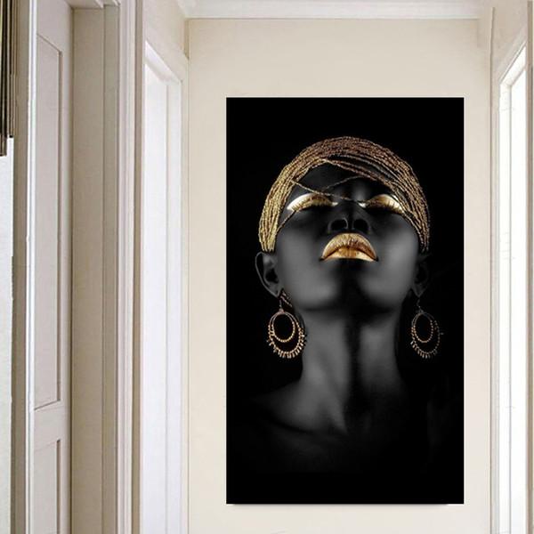 Leinwand Malerei Wandkunst Bilder druckt Schwarze Frau auf Leinwand kein Rahmen Wohnkultur Wand Poster Dekoration für Wohnzimmer