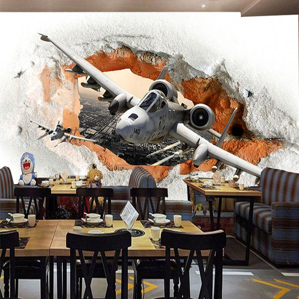 3D Wallpaper Modern Cartoon Plane Broken Wall Mural Cafe Restaurant  Children\'S Bedroom Personality Wall Paper Roll For Walls 3 D Free Desktop  ...