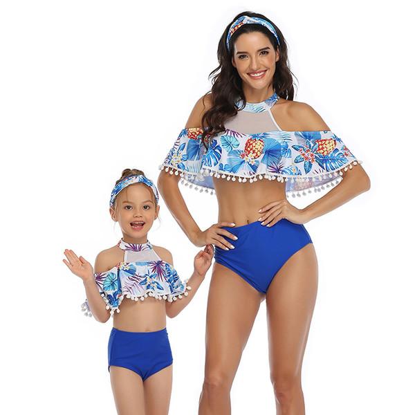 New fashion Mom Daughter Bikini set Flower tassel women sexy swimsuit girl ruffle two-piece Swim Wear Bathing Beachwear Outfits