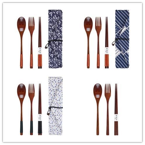 3 UNIDS / SET Ambiental De Madera Cubiertos Estilo Japonés Cubiertos Cuchara Tenedor Cuchillo Vajilla Fpr Estudiante Viaje Vajilla Set