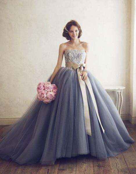 Vintage Strapless Wedding Dresses Sleeveless Lace Top A line Tulle 2019 Vestido de novia Colorful Light Navy Blue Bridal Gowns