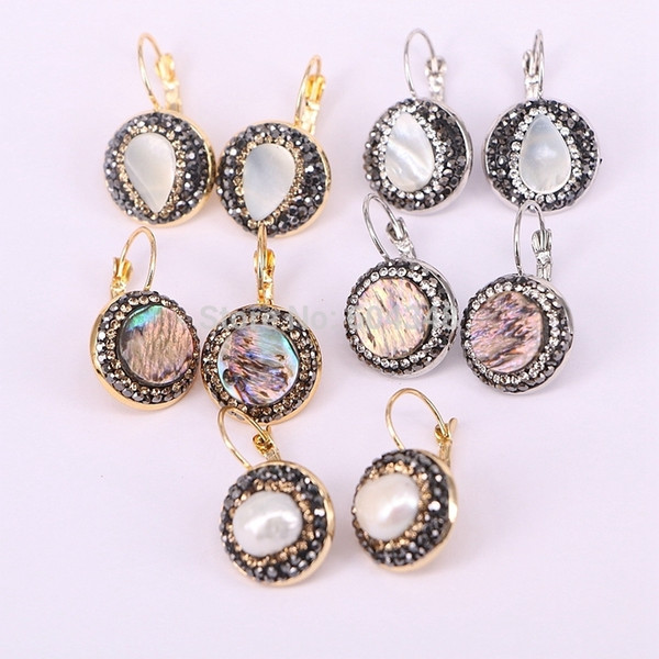 top popular 10Pairs ZYZ177-9951 Natural Shell   Pearl Dangle Earrings Crystal Rhinestone Paved Gold Silver Color Hook Dangling Earrings C18122801 2021