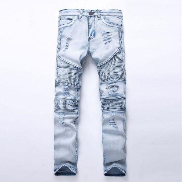 Jeans da uomo skinny strappati elasticizzati da uomo Pantaloni da denim slim fit con zip strappati Pantaloni a vita bassa con cerniera