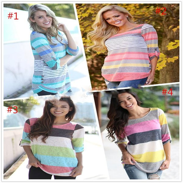 Colorful Striped Irregularly Printed Round Neck 3/4 Sleeved Women T-shirt Patchwork Cotton Knitwear Maternity Tops