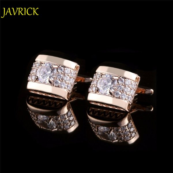 JAVRICK 1 Pair Kristal Rhinestone Erkek Altın Gümüş Gömlek Kol Düğmeleri Düğün Parti Hediye ZB380