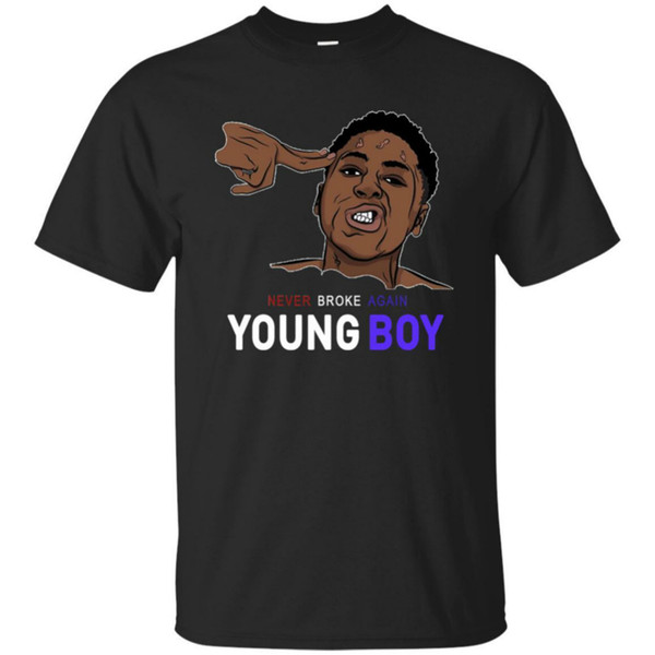 Youngboy Short Sleeve Black Navy Never-Broke-Again T-Shirt