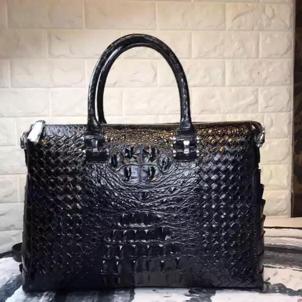Gestrickte Designer Echtes Krokodilleder Reißverschluss Herren Business Handtasche Exotisches Leder Männliche Aktentasche Mann Umhängetasche
