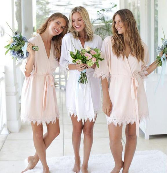 8 cores Moda Mulheres de Sólidos Silk Kimono Robe para damas de honra do banquete de casamento Noite Vestido de pijamas Custom Made