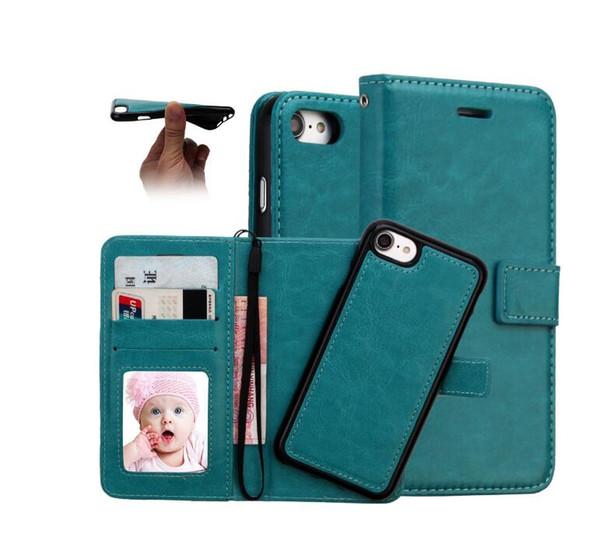 Funda billetera de cuero 2 en 1 Imán magnético desmontable extraíble Crazy Wallet Funda de piel para iphone x xsmax para Samsung S10