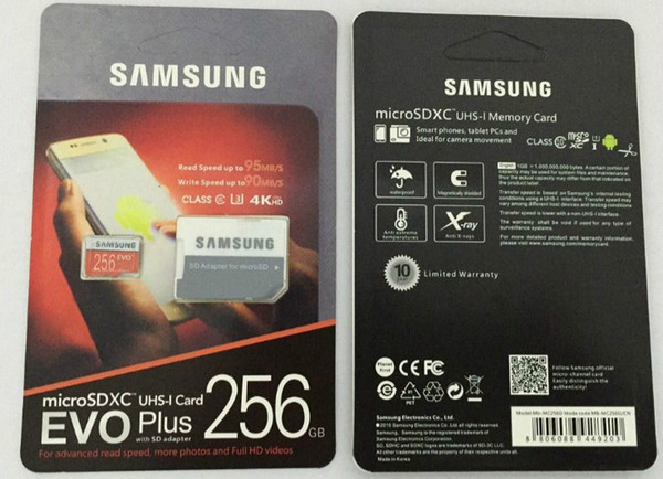 Dhl hipping 8gb 32gb 64gb 128gb 256gb am ung evo plu micro d card u3 martphone tf card c10 tablet pc dxc torage card 95mb