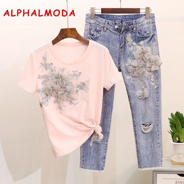Alphalmoda Trabalho Pesado Bordado Flor Tshirts + Calças De Brim Das Mulheres de Verão 2 pcs Moda Ternos Voga Elegante Conjuntos de Moda Europeia J190616