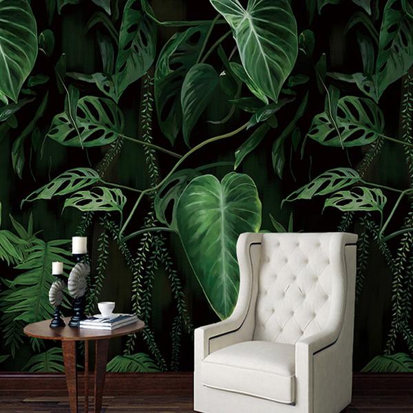 Compre Retro Tropical Rain Forest Palm Hojas De Plátano Mural Wallpaper Salón Restaurante Fondo Creativo Telón De Fondo Que Cubre La Pared Decoración