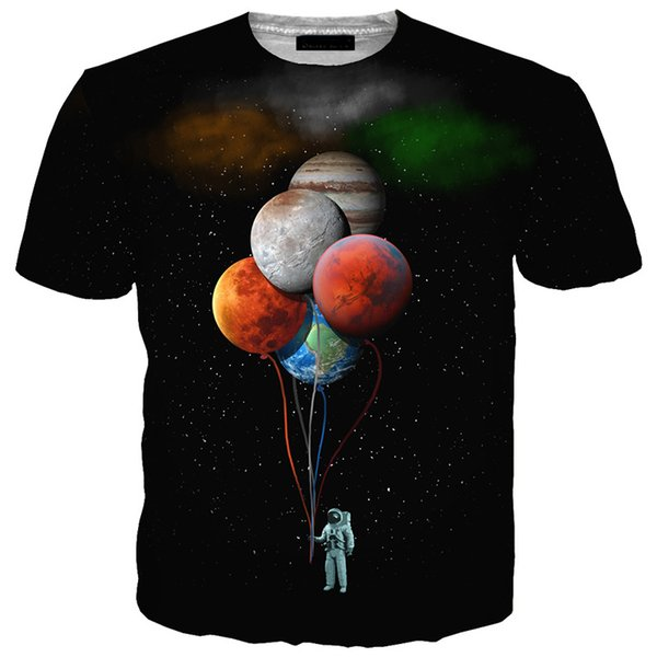 Mais recente Moda Masculina / Mulher Espaço Astronauta Planeta Balão Engraçado 3D Impressão T-Shirt Casual Manga Curta Engraçado Tees Tops T-shirt BB128