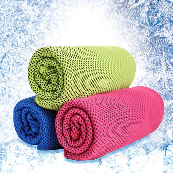 Moda refrescante toalla de hielo 100 * 30 cm Sensación Deportes fríos Toallas Hielo Toalla fresca Microfibra Natación Gimnasio Viaje por un lado