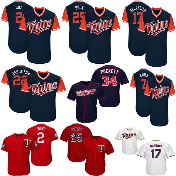 2019 Twins Jersey Minnesota 22 Miguel Sano 2 Brian Dozier 7 Joe Mauer 34 Kirby Puckett 17 Jose Berrios 25 Byron Buxton Baseball Jerseys