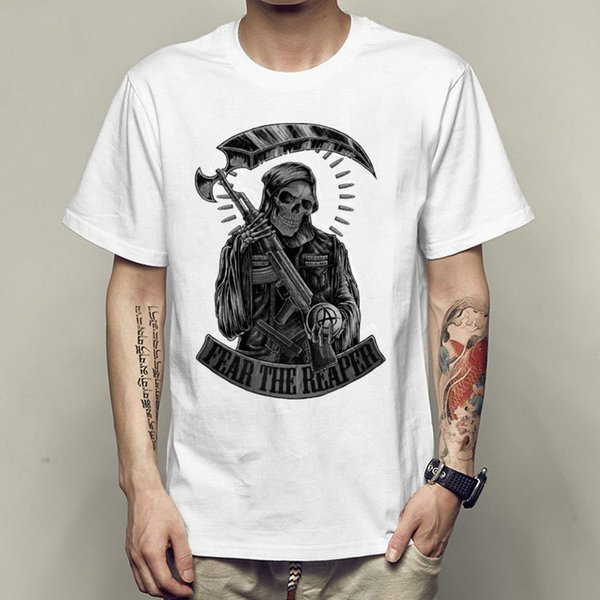 Fear the reaper t shirt Sons of anarchy short sleeve gown tops Skull white fastness tees Colorfast print clothing Pure color modal tshirt