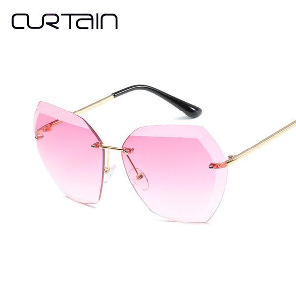 CURTAIN Shades for Women Stylish Sunglasses Fashion Cuts New Borderless Sunglasses Women Outdoor Goggles Party Oculos De Sol
