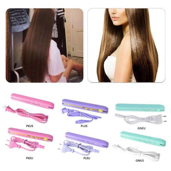Mini Ceramic Plate Hair Straightener Curler Styler US EU Plug Travelling Portable Female Male Hair Styling Dressing Tool 2019