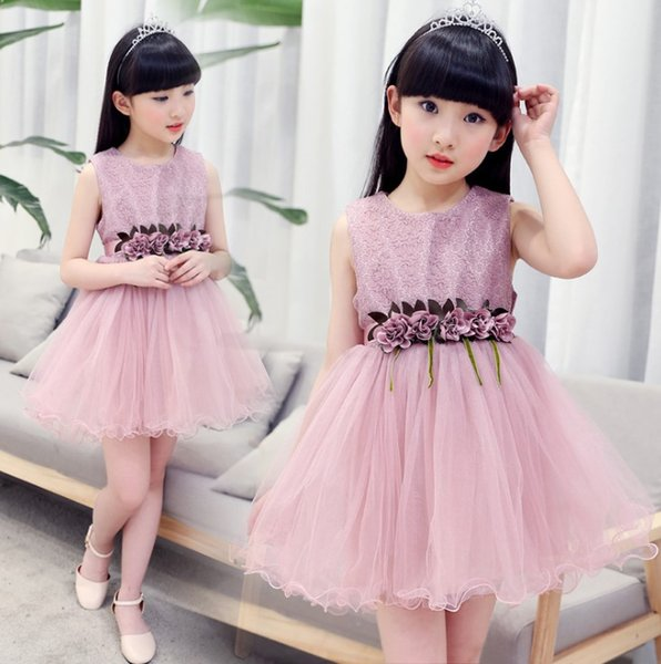 Girls summer dress tuxedo dress 2019 new summer children's lace princess dress Korean version girl sleeves children's skirt