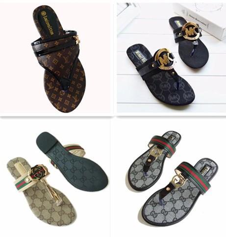 Marque européenne de la mode des femmes imprimer des sandales en cuir diapositive été plage en plein air chaussures pantoufles