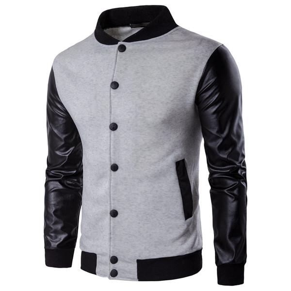 Printemps Automne Hommes Vestes Noir Marque Homme Veste Manteau Rétro Varsity Laine Cuir Synthétique En Cuir Homme Veste M-2XL
