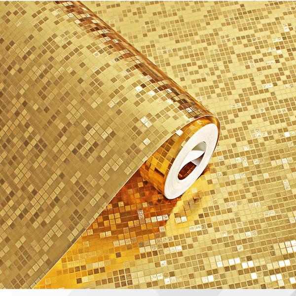 3D Stereo Gold Silber Mosaik Tapete Säule KTV Bartheke wasserdicht kariert Goldfolie Tapete Umweltschutz PVC