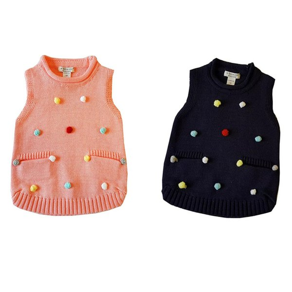 Newest INS Designs Kids Boys Girls Sweaters Vests 1 4T Toddler Sleeveless  Outdoor Sweater Colorful Ball Decorations Stylish Child Clothes Kids Life