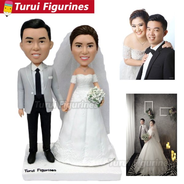 Japanese wedding cake topper customized bobblehead figurines dolls from photo real people face sculpture home decorations