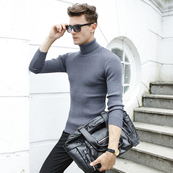 2019 winter new listed men's slim and comfortable quality durable knitwear turtleneck men's padded base pullovers wool sweater thumbnail