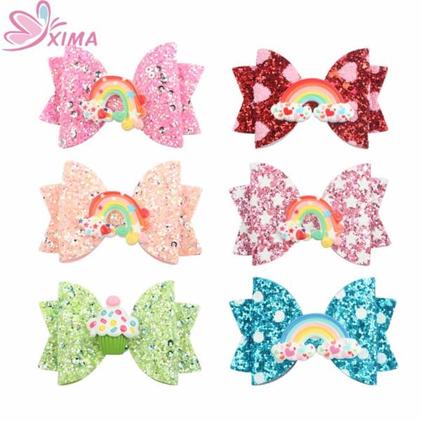 XIMA 1 ШТ. 3 дюймовый Candy Hair Bow с Радуга Зажим Для Волос Бутик Печати Dot Star Bows Заколки для Девочек Аксессуары для Партии